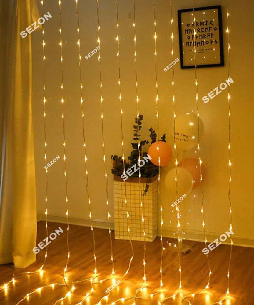 Водоспад 300 LED 3м*1,5м (8 режимів+ статичн),  теплий білий
