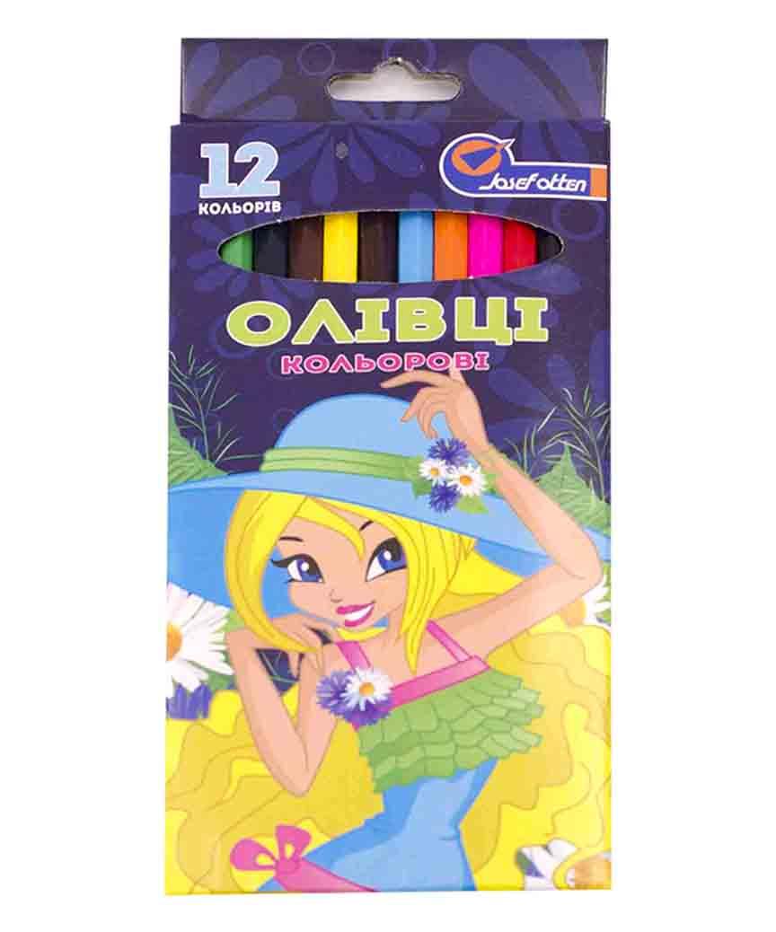 Карандаши 12 цветов картон/упак Josef otten, для девочек микс