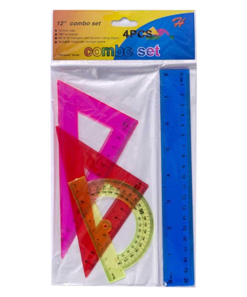 Набор линеек пластиковый,цветной 20см. 1220