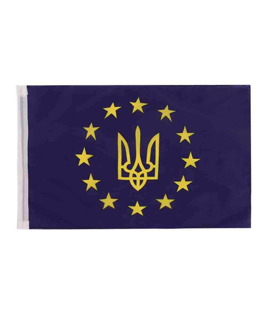"Прапор+ шток для авто ""Євросоюз"" 30см*45см"