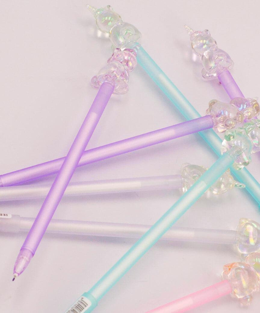 Ручка детская гелевая синяя КК-6900 Единорог