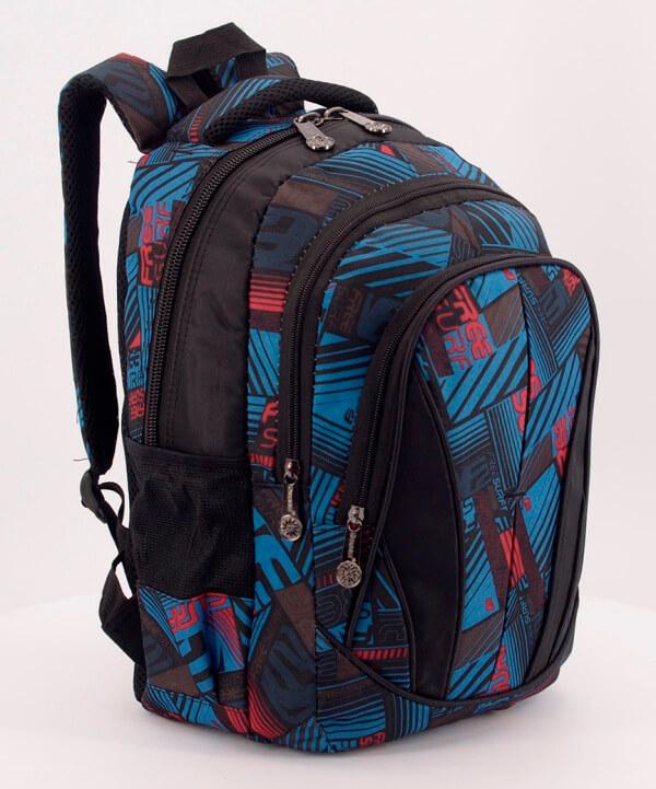 Рюкзак чёрно-синий 0445 абстракция 37*23*12см