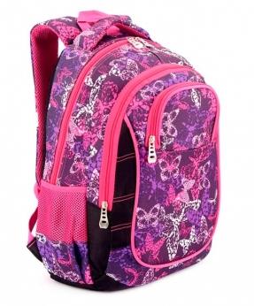 Купить Рюкзак подростковый розовый 4101 бабочки 40*27*16см