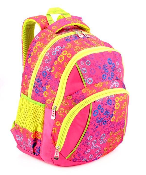 Рюкзак подростковый 4103 розовые кружочки 40*27*16см