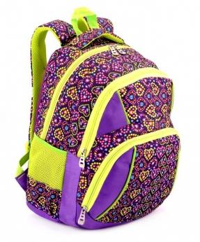 Купить Рюкзак подростковый 4104 фиолетовый с сердечками 40*27*16см