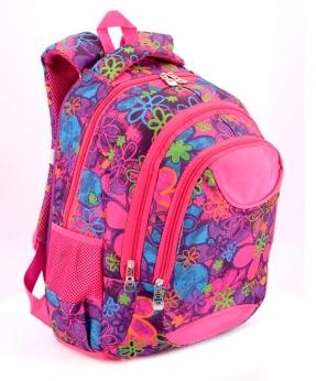 Купить Рюкзак подростковый 4105 розовый с цветочками 40*27*16см