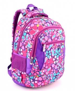 Купить Рюкзак подростковый 4107 фиолетовый с цветочками 40*27*16см