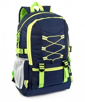 Купить Рюкзак тёмно-синий 4113 c жёлтыми шнурками 47*30*14см