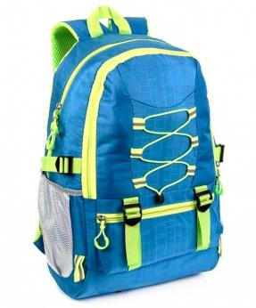 Купить Рюкзак синий 4114 c жёлтыми шнурками 47*30*14см