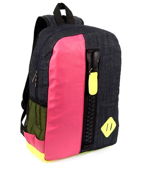Рюкзак молодёжный 4125 чёрно-розовый с замком 44*29*12см