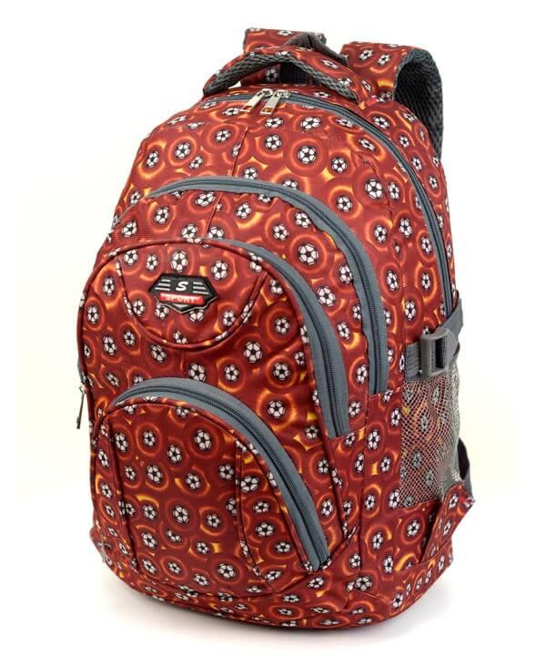 Рюкзак подростковый 4149-1 коричневый футбол 41*29*18см