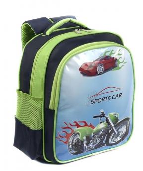 Купить Рюкзак детский 4165 зелёный мотоцикл 35*28*12см