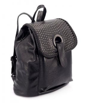 Купить Рюкзак из еко-кожи чёрный 4182 с заклёпками 31*23*15см