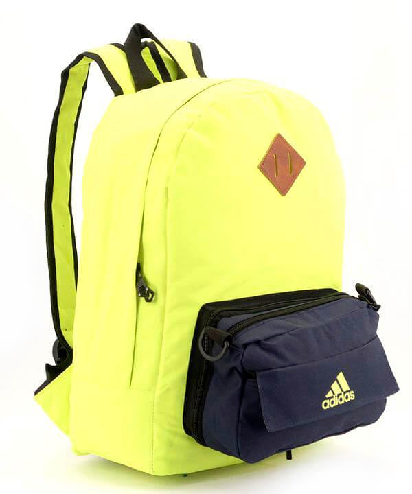 Рюкзак молодежный адидас салатовый 4329 карман сумочка 39*27*12см