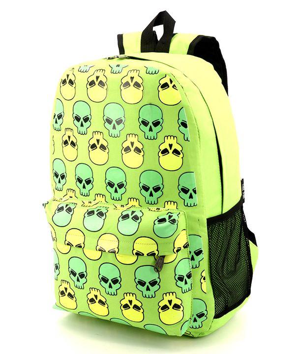 Рюкзак подростковий 4333 салатовый с черепами 46*29*13см