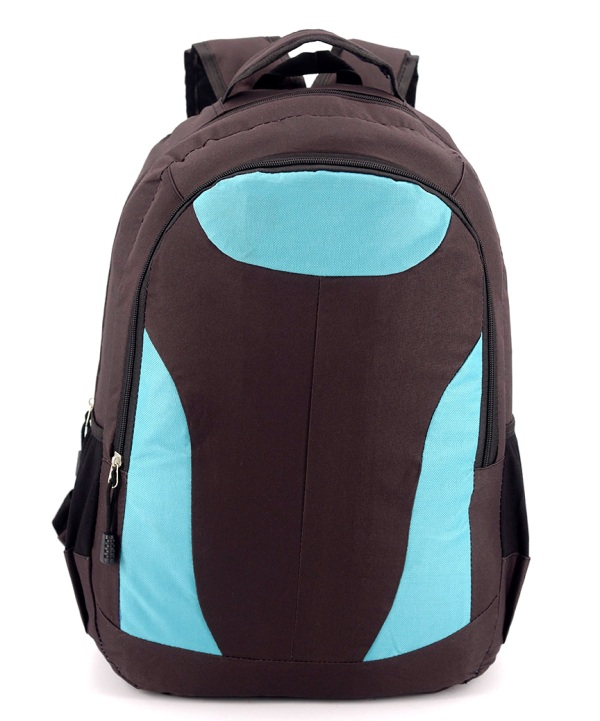 Рюкзак коричневый 4748 с голубыми вставками 47*31*13см