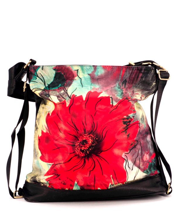 Сумка-рюкзак 4843 красный цветок 39*36*13см