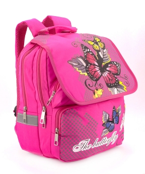 Купить Рюкзак ортопедический розовый 4989 бабочка 34*26*20см