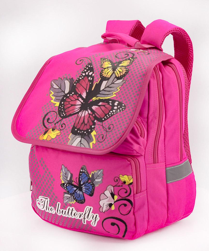 Рюкзак ортопедический розовый 4989 бабочка 34*26*20см