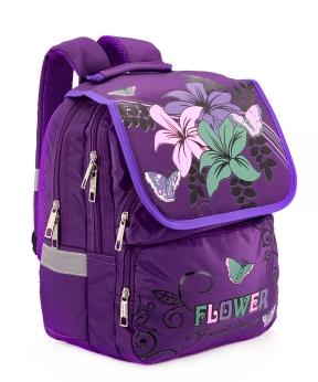 Купить Рюкзак ортопедический фиолетовый 4992 цветы 34*26*20см