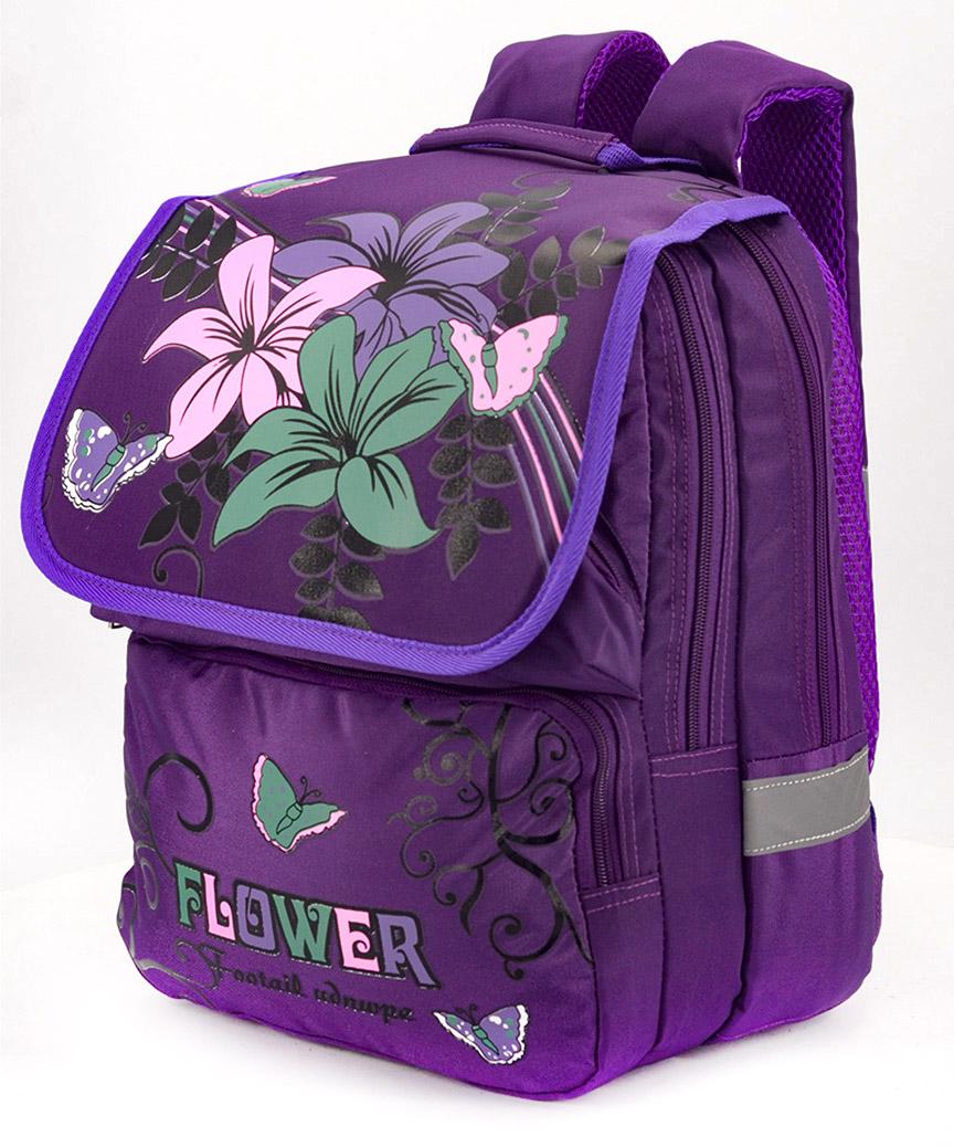 Рюкзак ортопедический фиолетовый 4992 цветы 34*26*20см