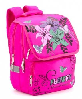 Купить Рюкзак ортопедический розовый 4995 цветы 34*26*20см