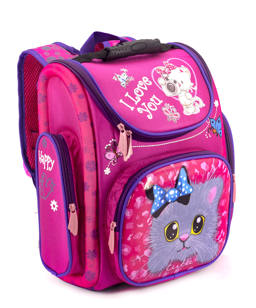 Рюкзак ортопедический розовый 4997-2 котик 33*23*14см