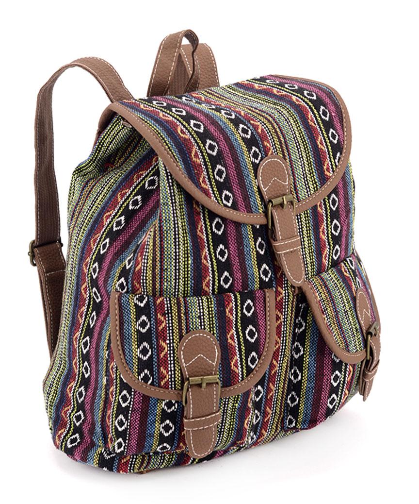 Рюкзак  женский тканевый 5104  узоры 28*28*10см