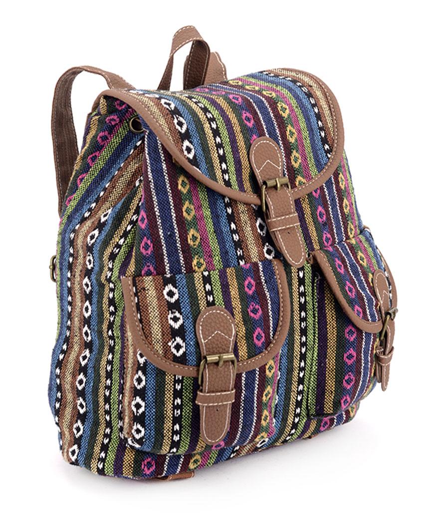 Рюкзак  женский тканевый 5105 узоры-2 28*28*10см