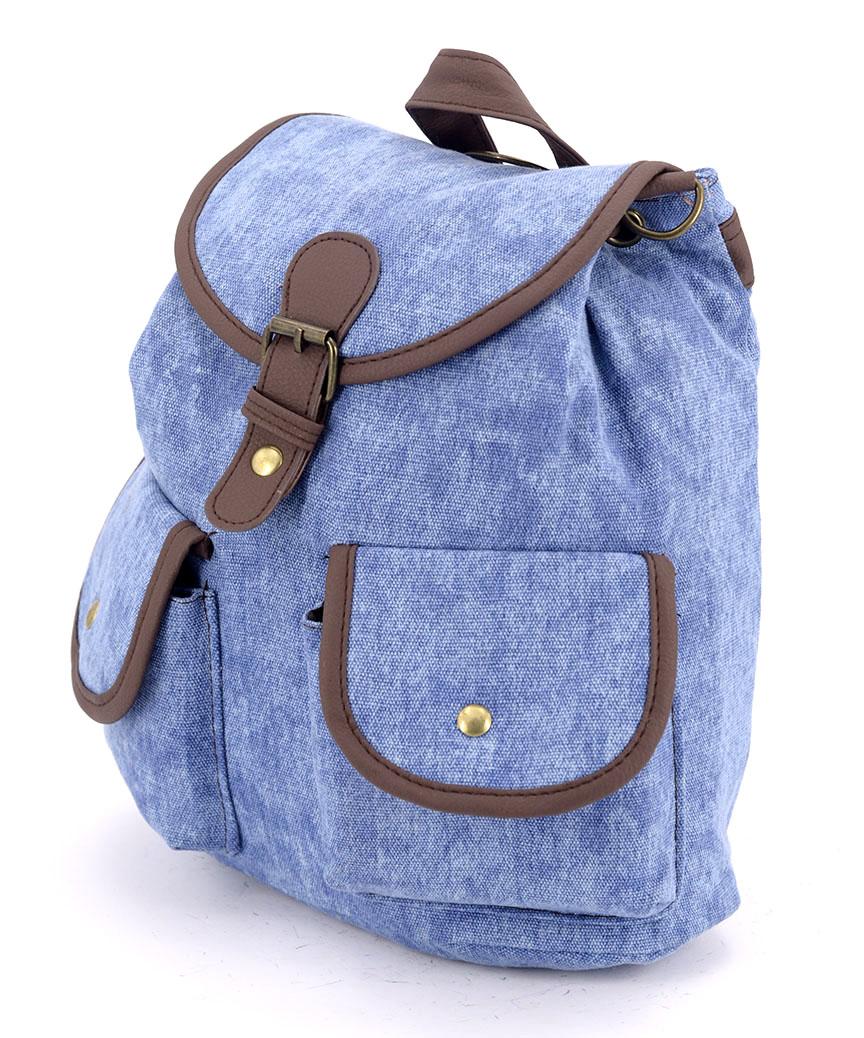 Рюкзак женский тканевый 5114 светло-синий 26*19*12см