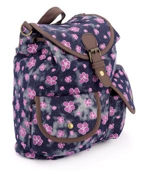 Купить Рюкзак женский тканевый, чёрный с цветочками 5115