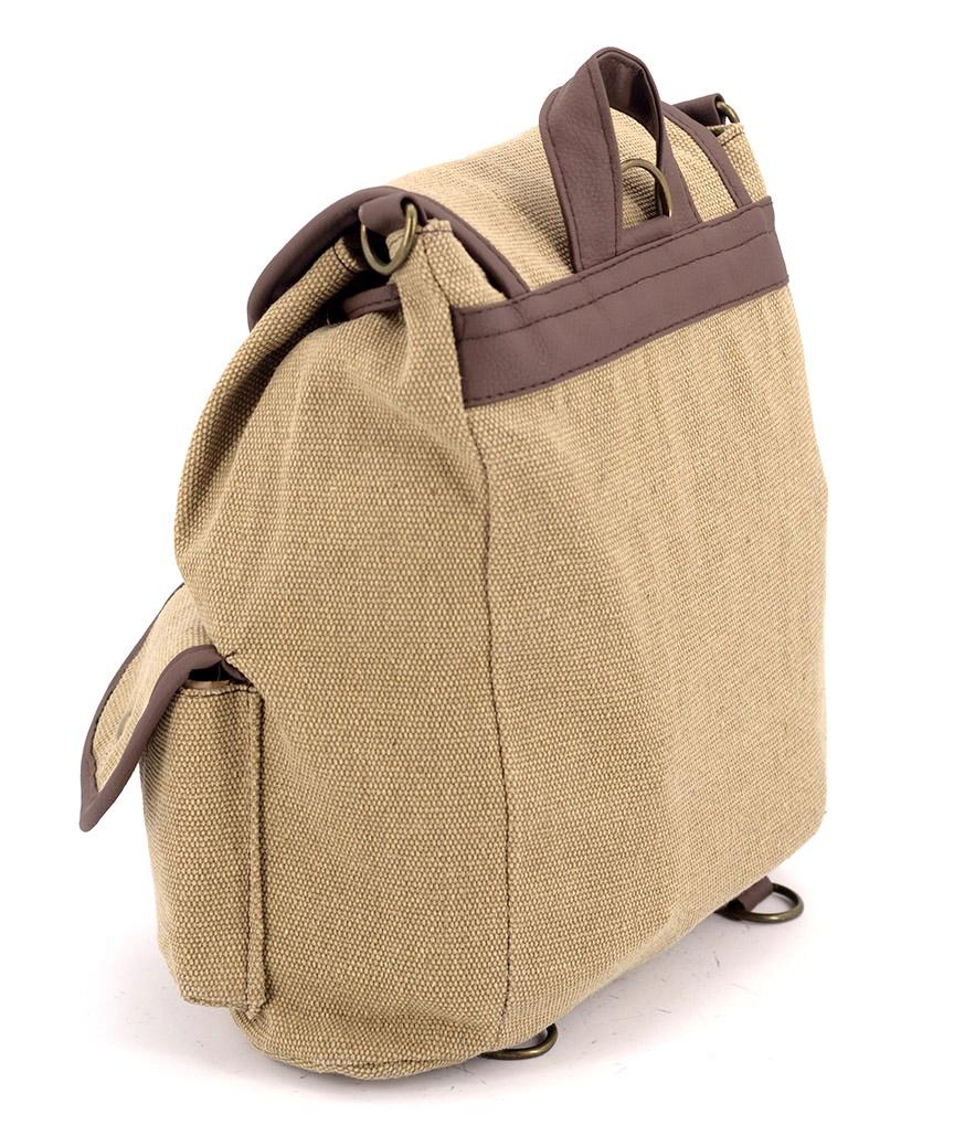 Рюкзак женский тканевый 5116 бежевый 26*19*12см