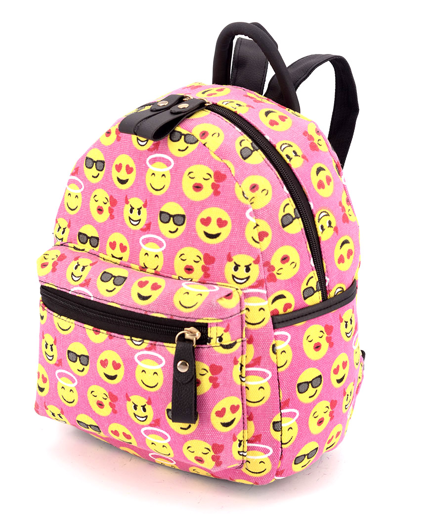 Рюкзак женский тканевый 5129 смайл розовый 29*24*13см