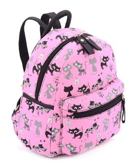 Купить Рюкзак женский тканевый 5134 розовый с котиками 29*24*13см