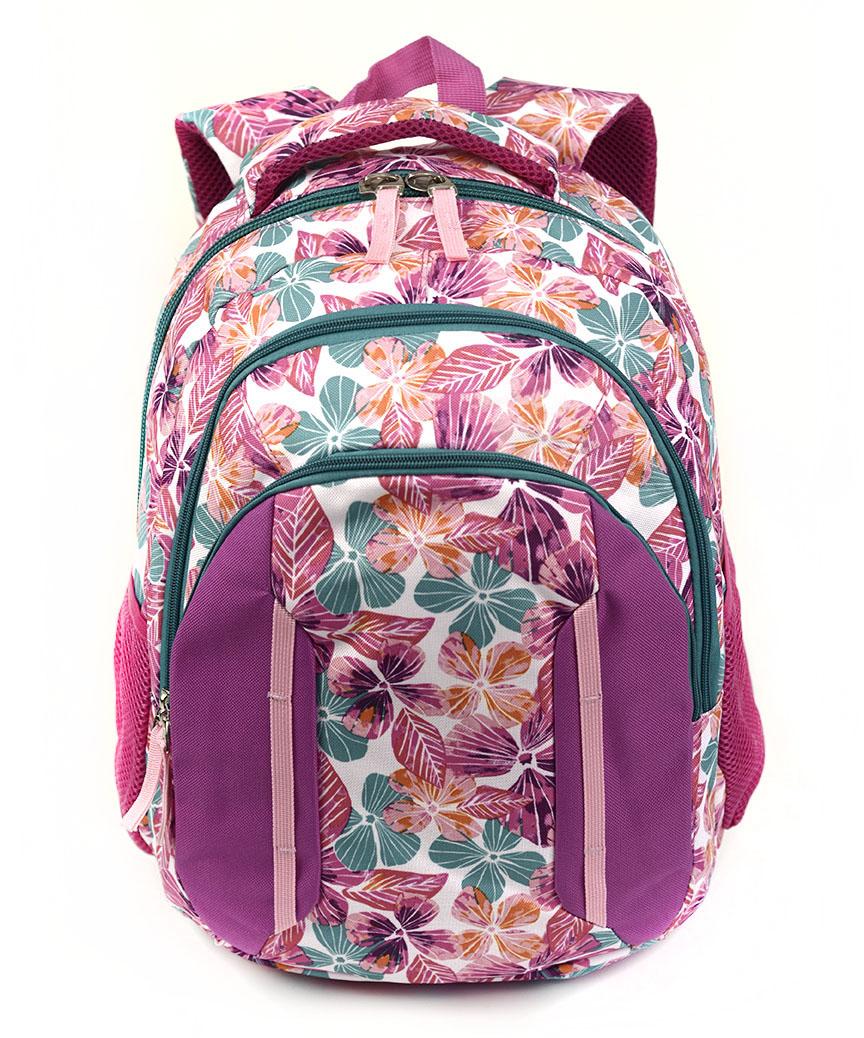 Рюкзак ортопедический 5214 цветочки розовые 40*28*20см