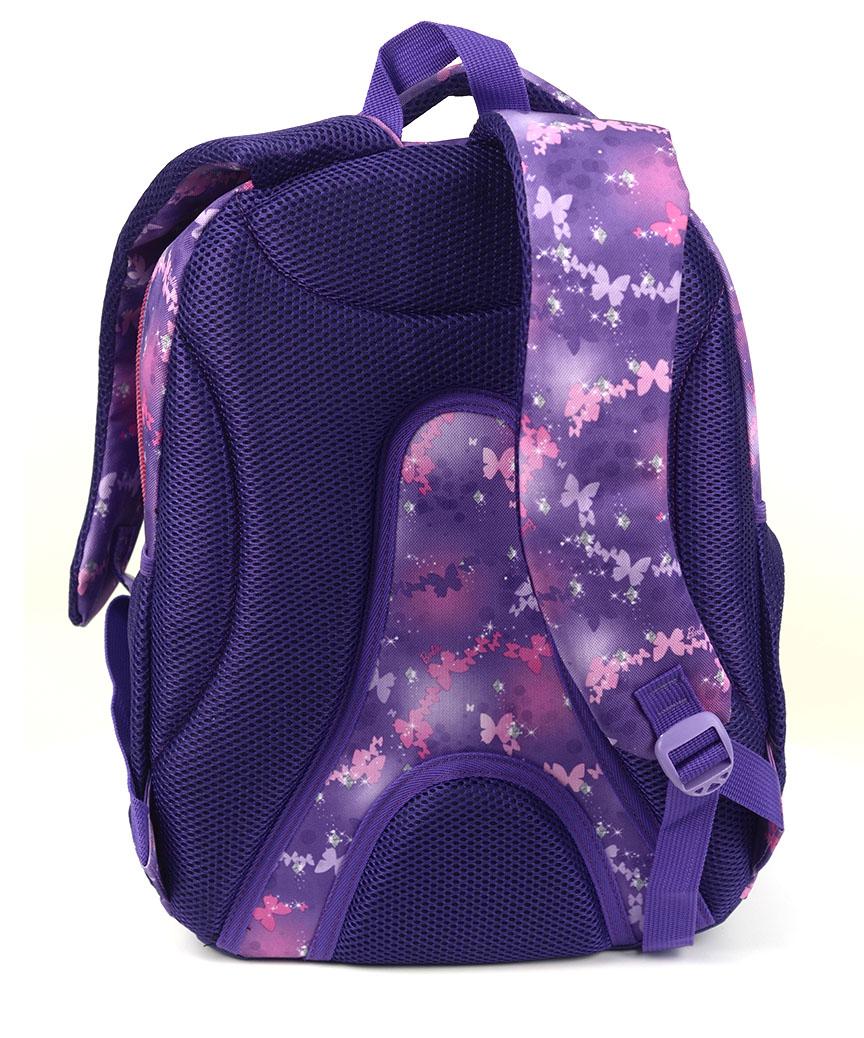 Рюкзак ортопедический 5215 фиолетовый бабочка 40*28*20см