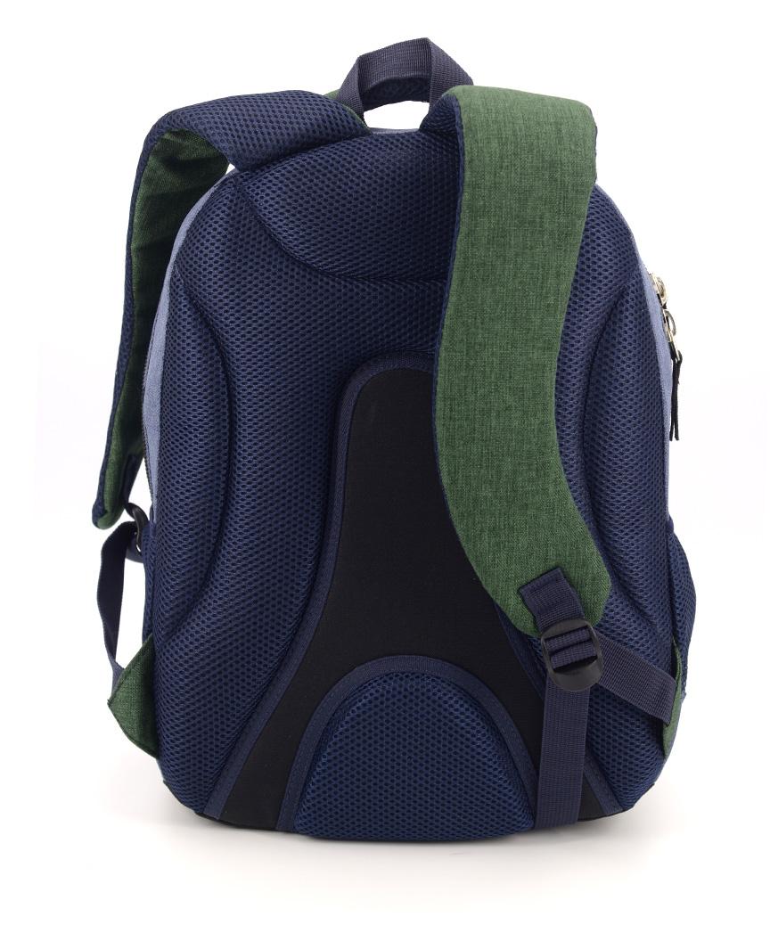 Рюкзак ортопедический 5225 с зеленым карманом 40*28*20см