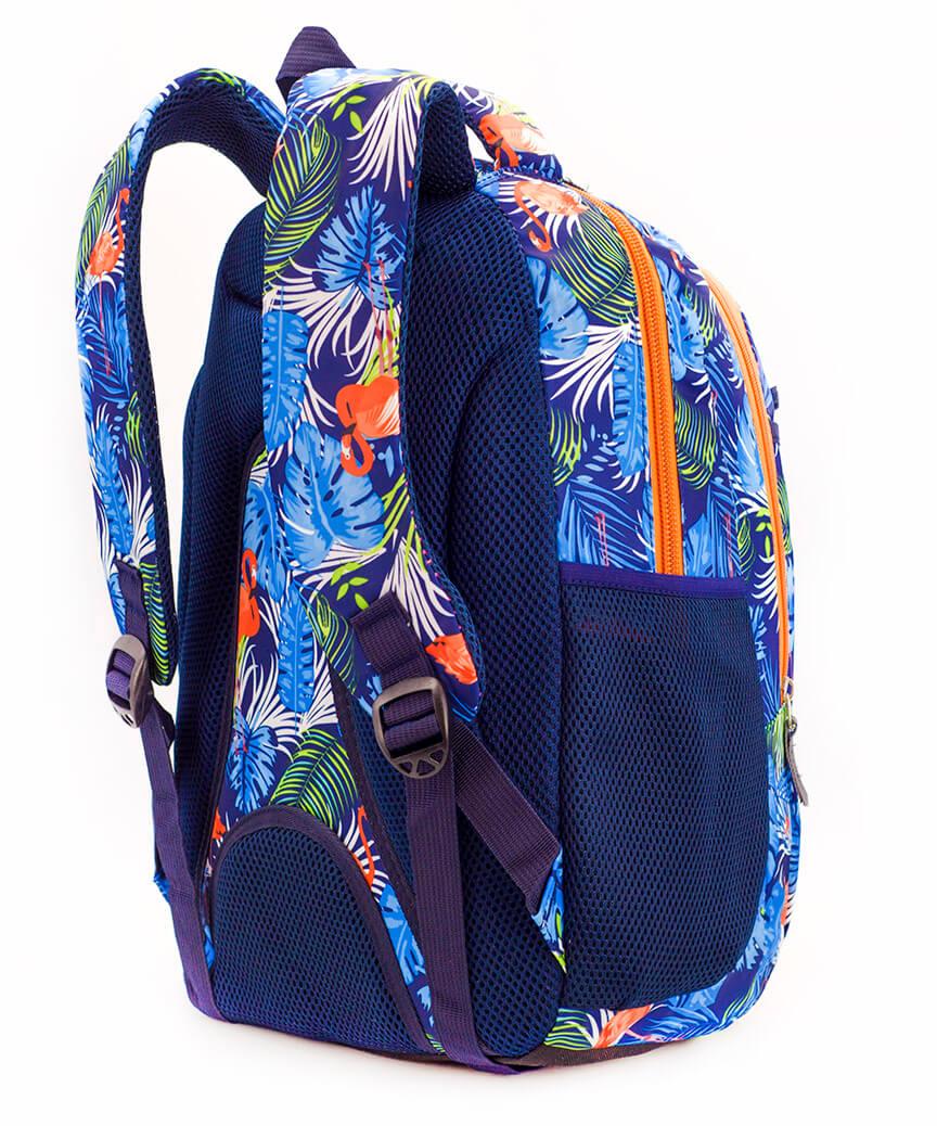 Рюкзак ортопедический 5239 синий Фламинго тропик 40*28*20см
