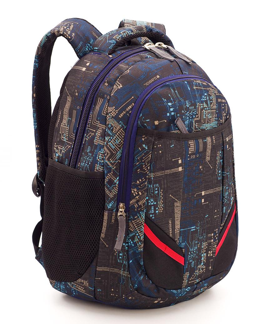 Рюкзак ортопедический 5240 коричнево-синий Микросхема 40*28*20см