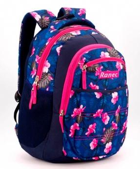 Купить Рюкзак ортопедический 5253 цветы на синем 40*28*20см