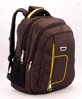 Купить Рюкзак коричневый 5279 жёлтая ручка 39*27*14см