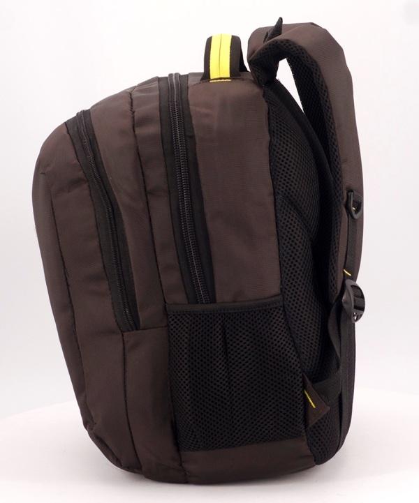 Рюкзак коричневый 5279 жёлтая ручка 39*27*14см