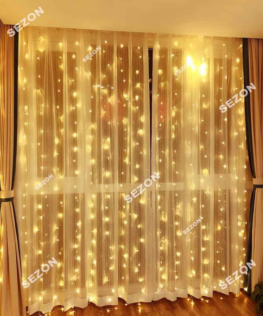 Штора  200 LED 5м*0,6м, прозор/провід  2,2мм, білий теплий (статичний режим) (40)