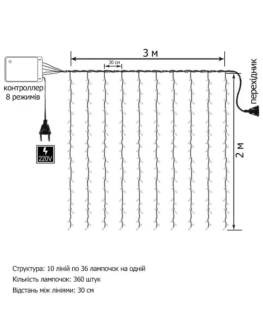 Водоспад 400 LED 3м*2м, (8 режимів+ статичн), мульті