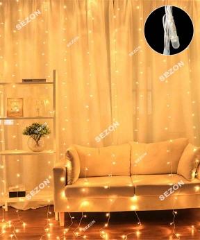 Купить Штора-ЛІНЗА 8мм 240 LED 3м*1.2м, білий теплий