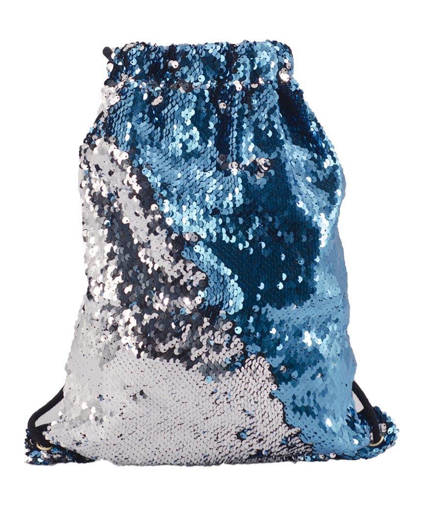 Сумка для обуви 10032 паетки (серебро/синий) 40*29см